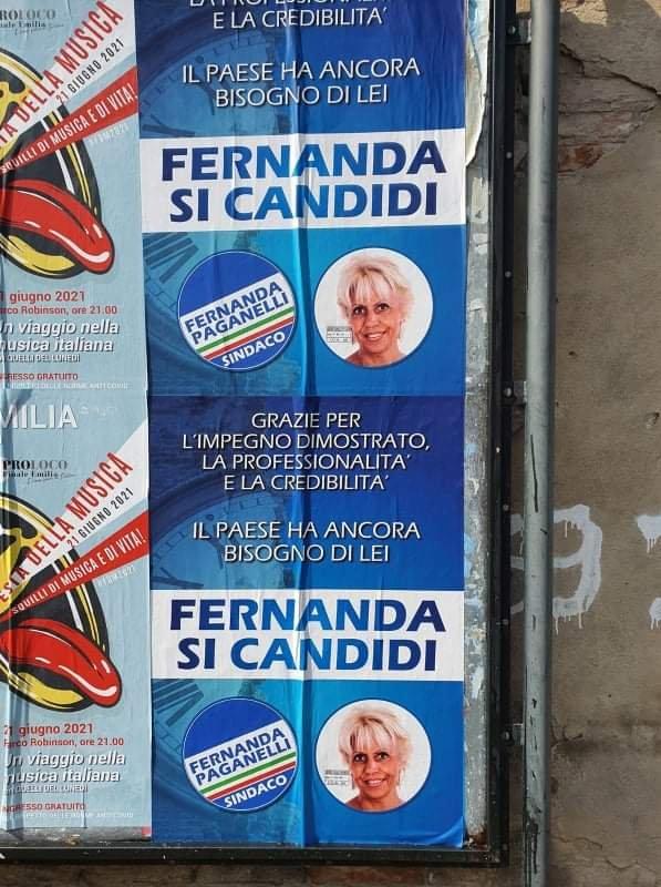 Finale Emilia, comparsi manifesti che spingono l'ex assessora Paganelli a candidarsi a sindaca